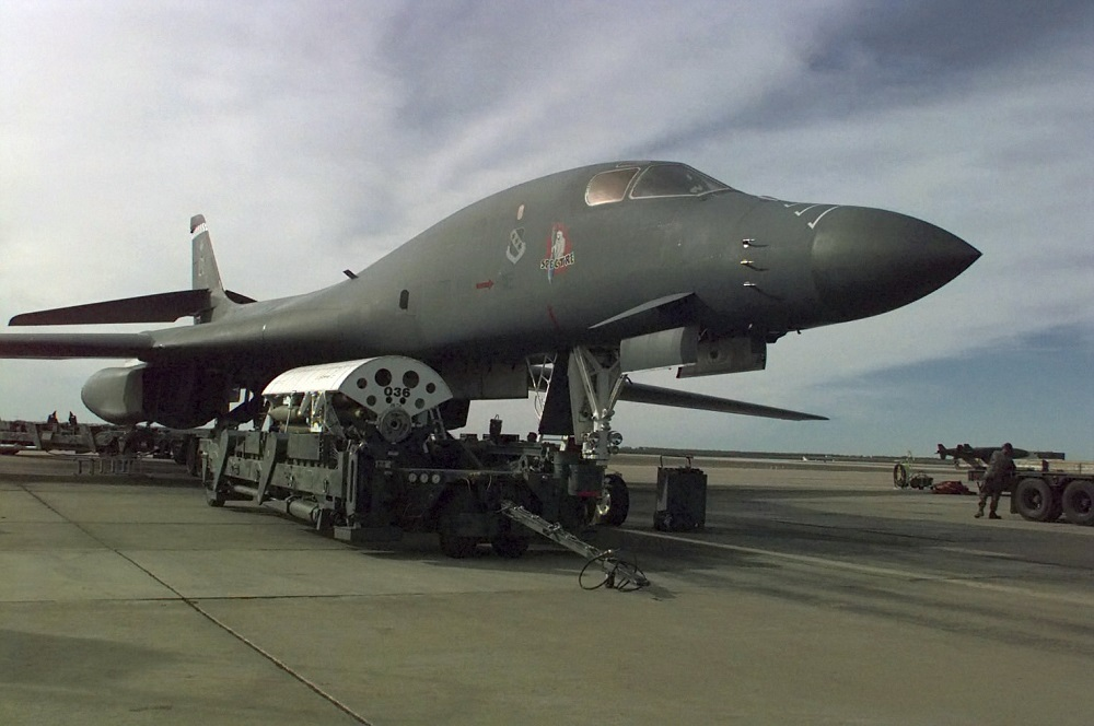 A B-1 bomber is loaded with bombs before departing for Iraq during Operation Desert Fox. Air Force photo
