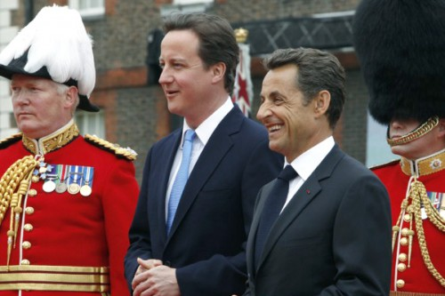British Prime Minister David Cameron and French President Nicolas Sarkozy in London, June 18, 2010